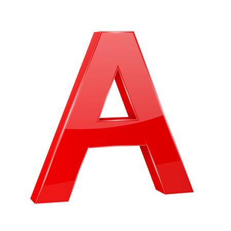 Letter A. Red 3d symbol