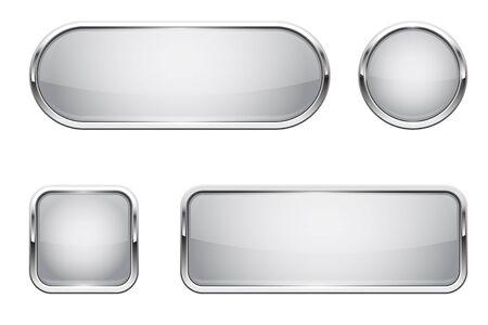 Web buttons. White shiny icons with chrome frame Illusztráció