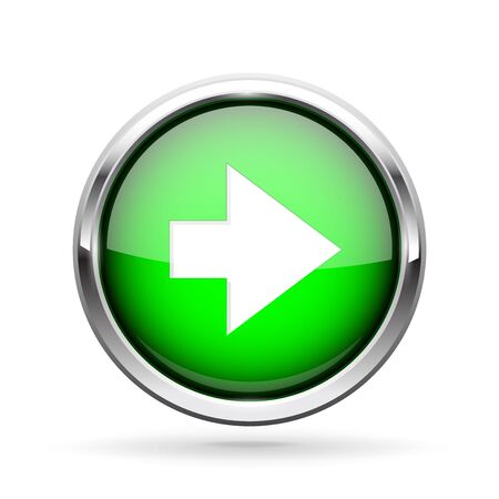 Next icon. Green shiny 3d button with metal frame and white arrow