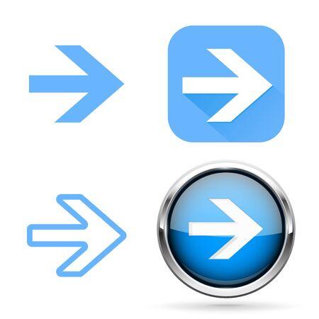 Next signs. Blue buttons and icons Illusztráció