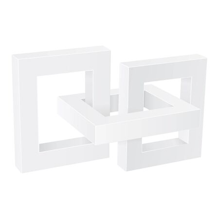 White chain elements. 3d signs