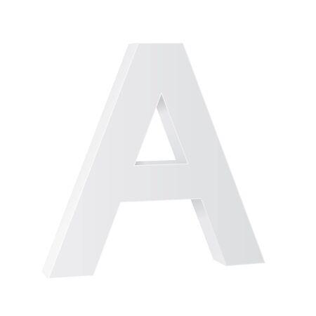Letter A. White 3d symbol Illusztráció