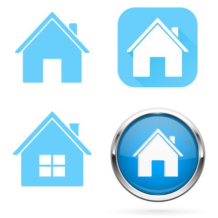 Home icons. Set of blue signs and buttons