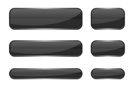 Glass buttons. Black shiny 3d icons