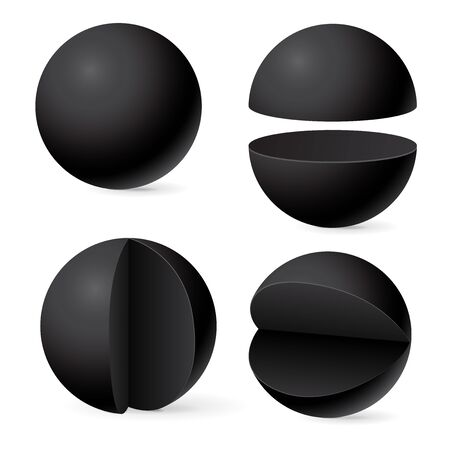 Black sphere. Whole and in parts. Web 3d template. Vector illustration isolated on white background