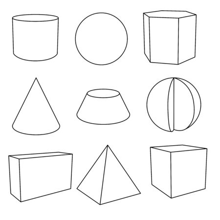 3d geometric shapes in flat outlines. Vector illustration isolated on white background