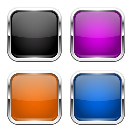Push buttons. Glass colored square icons with chrome frame. Vector 3d illustration isolated on white background