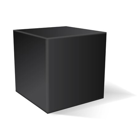 Black cube. 3d geometric shape. Vector illustration isolated on white background Çizim