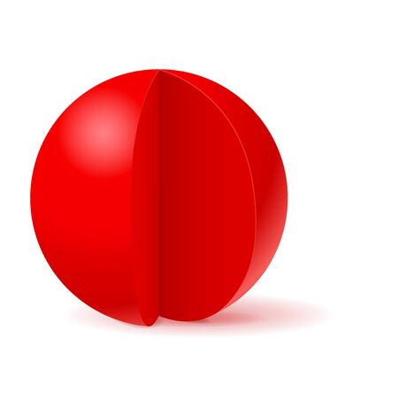 Red sphere with cut out piece. White template. Vector 3d illustration isolated on white background