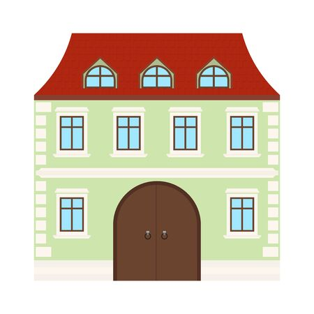 Colored house. Two-storey residential building. Vector illustration isolated on white background