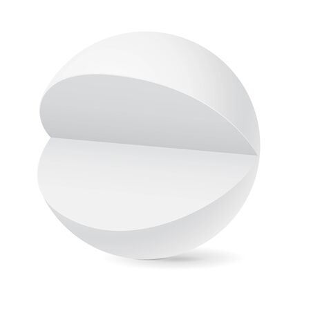 Sphere with cut out piece. White template. Vector 3d illustration isolated on white background