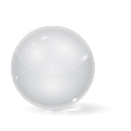 Glass ball. 3d white transparent sphere. Vector illustration isolated on white background Illusztráció