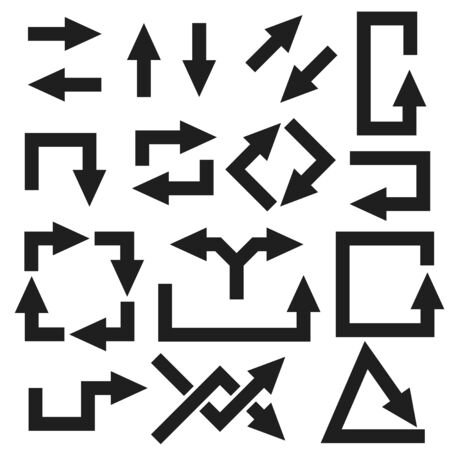 Black arrows set. Vector illustration isolated on white background Çizim