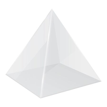 Transparent pyramid. 3d geometric shape. Vector illustration isolated on white background