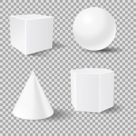 Geometric shapes. White 3d mockup templates. Vector illustration isolated Çizim