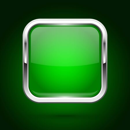 Green glass button with metal frame. Square iconon green background. Vector 3d illustration Çizim