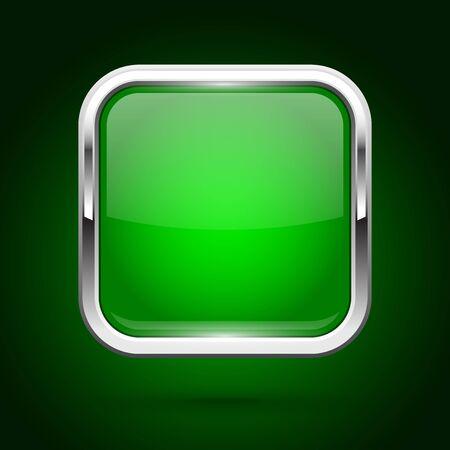 Green glass button with metal frame. Square iconon green background. Vector 3d illustration Illusztráció