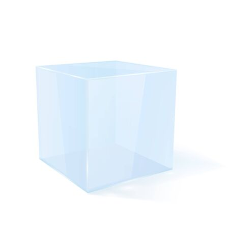 Transparent cube. 3d geometric shape. Vector illustration isolated on white background