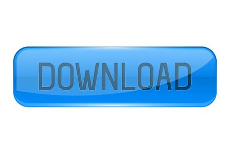 Download button. Rectangle blue 3d icon