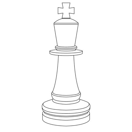The king chess piece. Outline drawing
