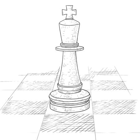 The king chess piece on a chess board. Hand drawn sketch Çizim