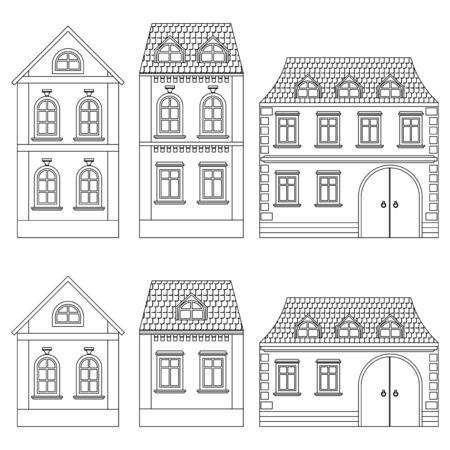Houses. Outline drawings of buildings