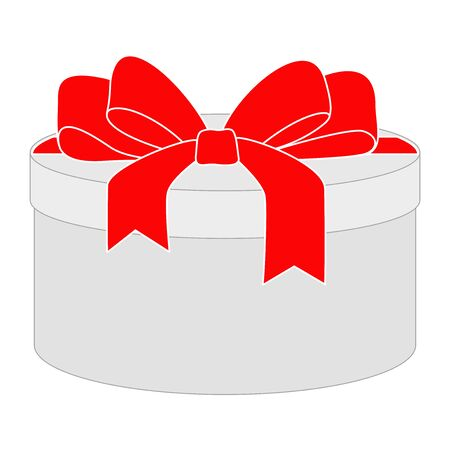Gift box with red ribbon bow Çizim