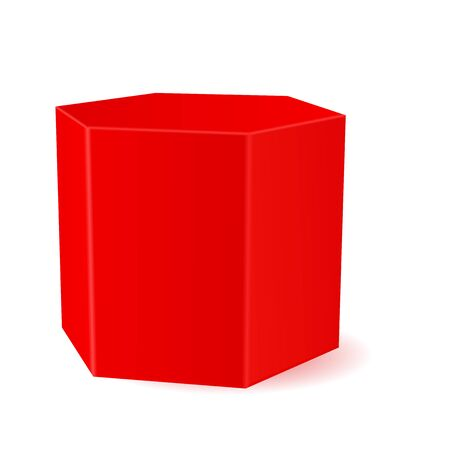Red hexagonal prism. 3d geometric shape Çizim