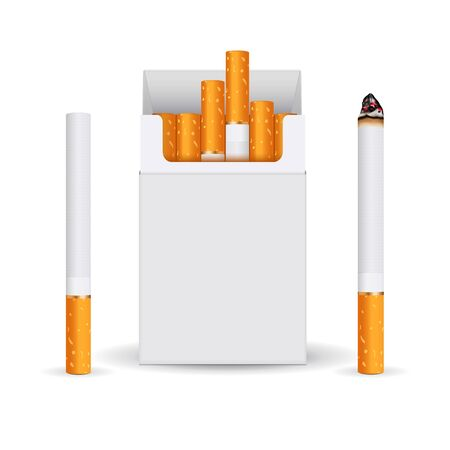 Blank white pack of cigarettes. Smoking