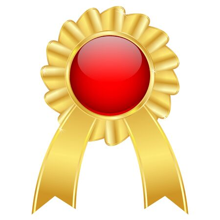 Golden award badge with red center and ribbon. Vector 3d illustration isolated on white background