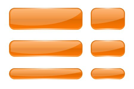 Glass buttons. Orange shiny 3d icons. Vector illustration isolated on white background