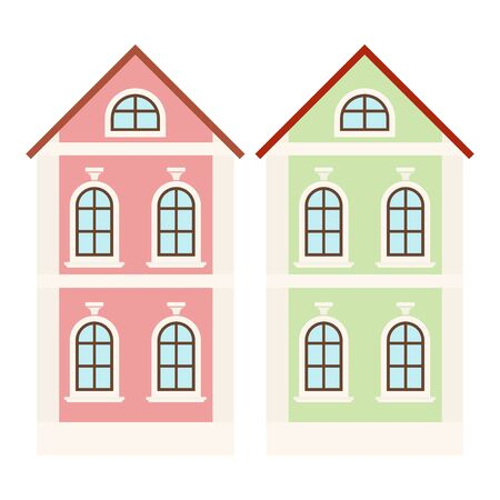 City houses. Small colored buildings. Vector illustration isolated on white background