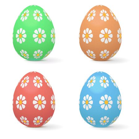 Easter eggs decorated with flowers. Vector 3d illustration isolated on white background