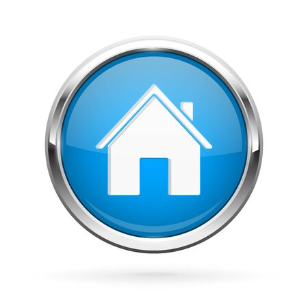 Closed icon. Blue shiny 3d button with metal frame and locked home symbol. Vector illlustration