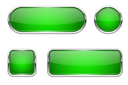 Web buttons. Green shiny icons with chrome frame. Vector 3d illustration isolated on white background Çizim