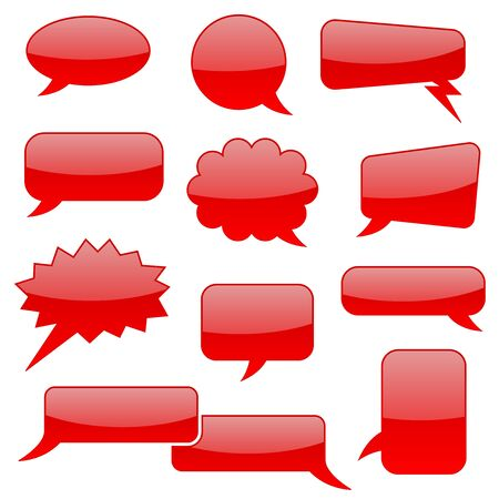 Speech bubbles. Red blank shiny signs. Vector illustration isolated on white background Çizim