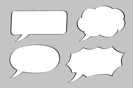 Speech bubbles set. White blank elements on gray background. Vector illustration