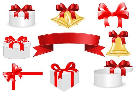 Gift box with red ribbon bow. Vector 3d illustration isolated on white background