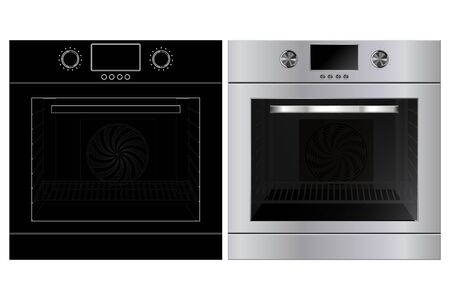 Oven. 3d model and black outline technical drawing. Vector illustration