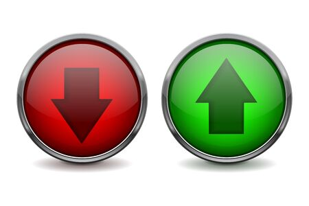 Red and green glass buttons. Up and down arrows. Vector 3d illustration isolated on white background Çizim