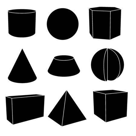 3d geometric shapes in black flat outlines. Vector illustration isolated on white background Çizim