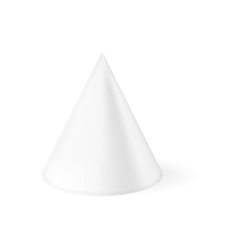 White cone. 3d geometric shape. Vector illustration isolated on white background Çizim