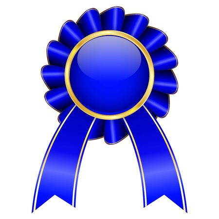 Blue award badge with ribbon. Vector 3d illustration isolated on white background