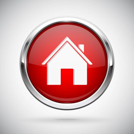 Closed icon. Red shiny 3d button with metal frame and locked home symbol. Vector illlustration