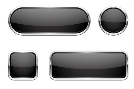 Web buttons. Black shiny icons with chrome frame. Vector 3d illustration isolated on white background Çizim