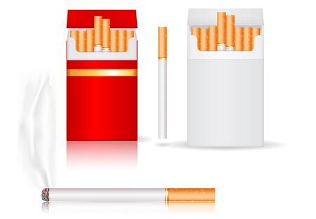 Pack of cigarettes. White and red paper packs. Vector 3d illustration isolated on white background