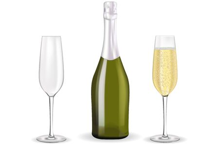 Champagne with two glasses. Vector 3d illustration isolated on white background