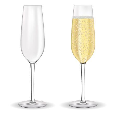 Kieliszki do szampana. Pełna i pusta. Ilustracja wektorowa 3d na białym tle Ilustracje wektorowe