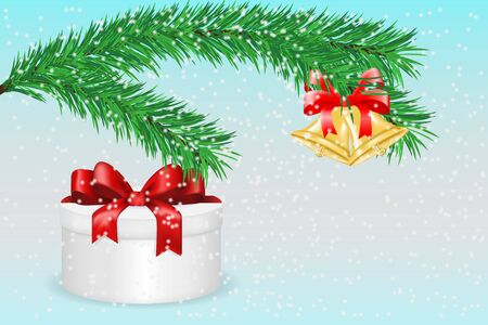 Gift box with red ribbon bow and green spruce branch. Vector 3d illustration