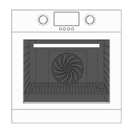 Oven. Outline technical drawing. Vector illustration isolated on white background Çizim